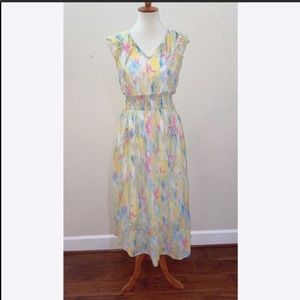 Anthropologie Yellow Watercolor Maxi Dress…